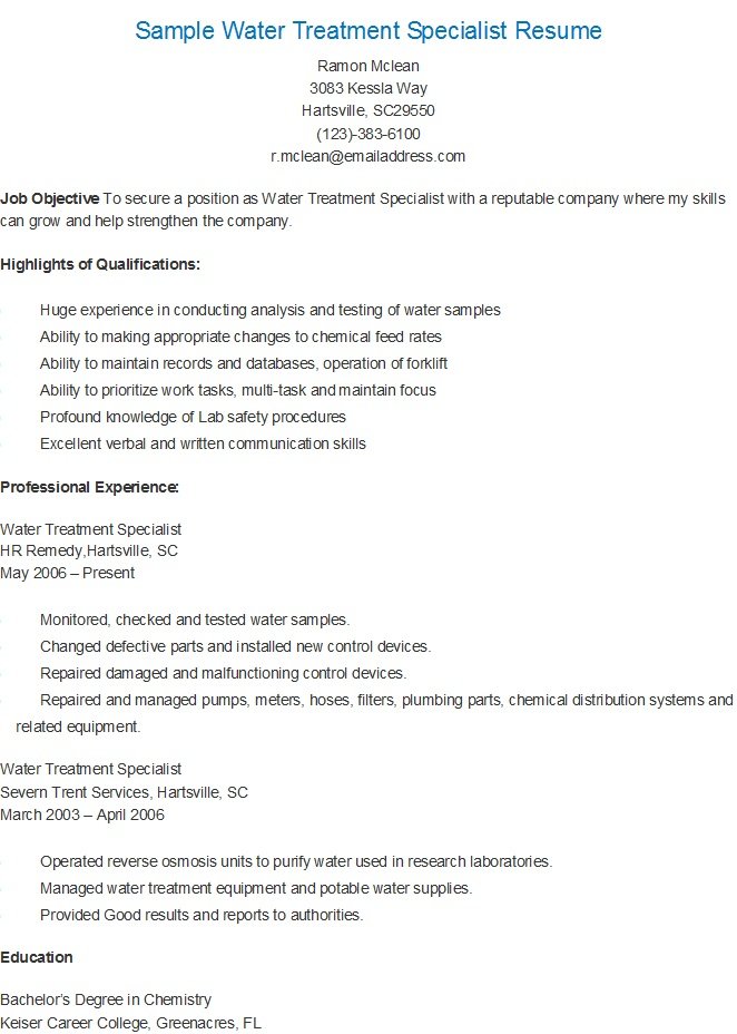 resume samples  sample water treatment specialist resume