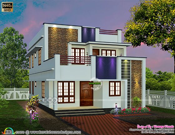 Simple and Modern Kerala house rendering