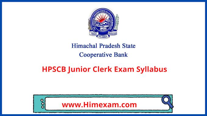 HPSCB Junior Clerk Exam Syllabus