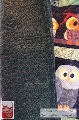 Owl quilt back - detail of the side borders