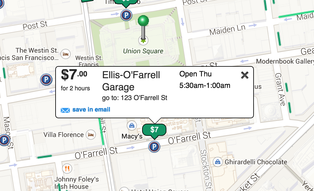 Parking Map of Union Square San Francisco CA Ellis O'Farrell Garage
