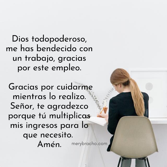 frases oración cristiana de acción de gracias por el trabajo, empleo