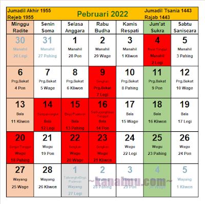 kalender jawa bulan februari 2022 - kanalmu