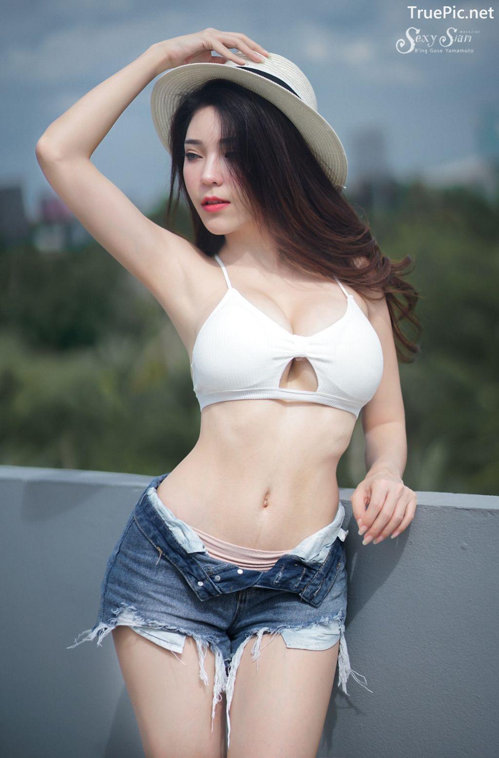 Image-Thailand Sexy Model-Janet-Kanokwan-Saesim-White-Bra-And-Jean-TruePic.net- Picture-1