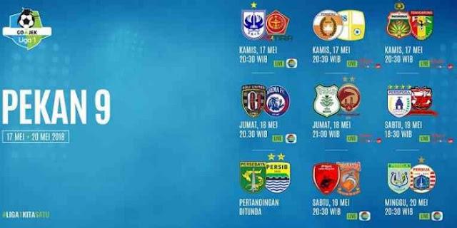 Jadwal Lengkap Liga 1 2018 Pekan ke-9