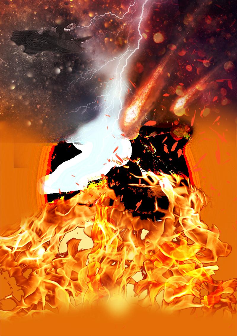 render fuego meteoritos