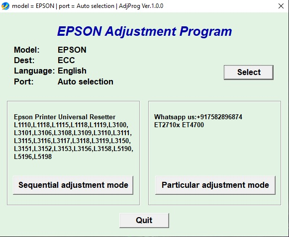 Epson L series Universal Software One Click Reset