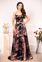 Rochie de ocazie neagra cu imprimeu floral