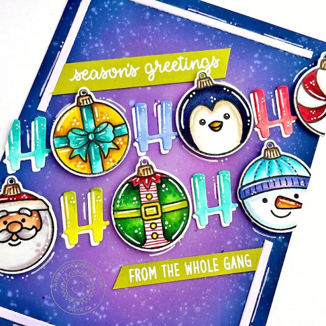 Sunny Studio Stamps: Deck The Halls Chloe Alpha Dies Christmas Card by Kavya