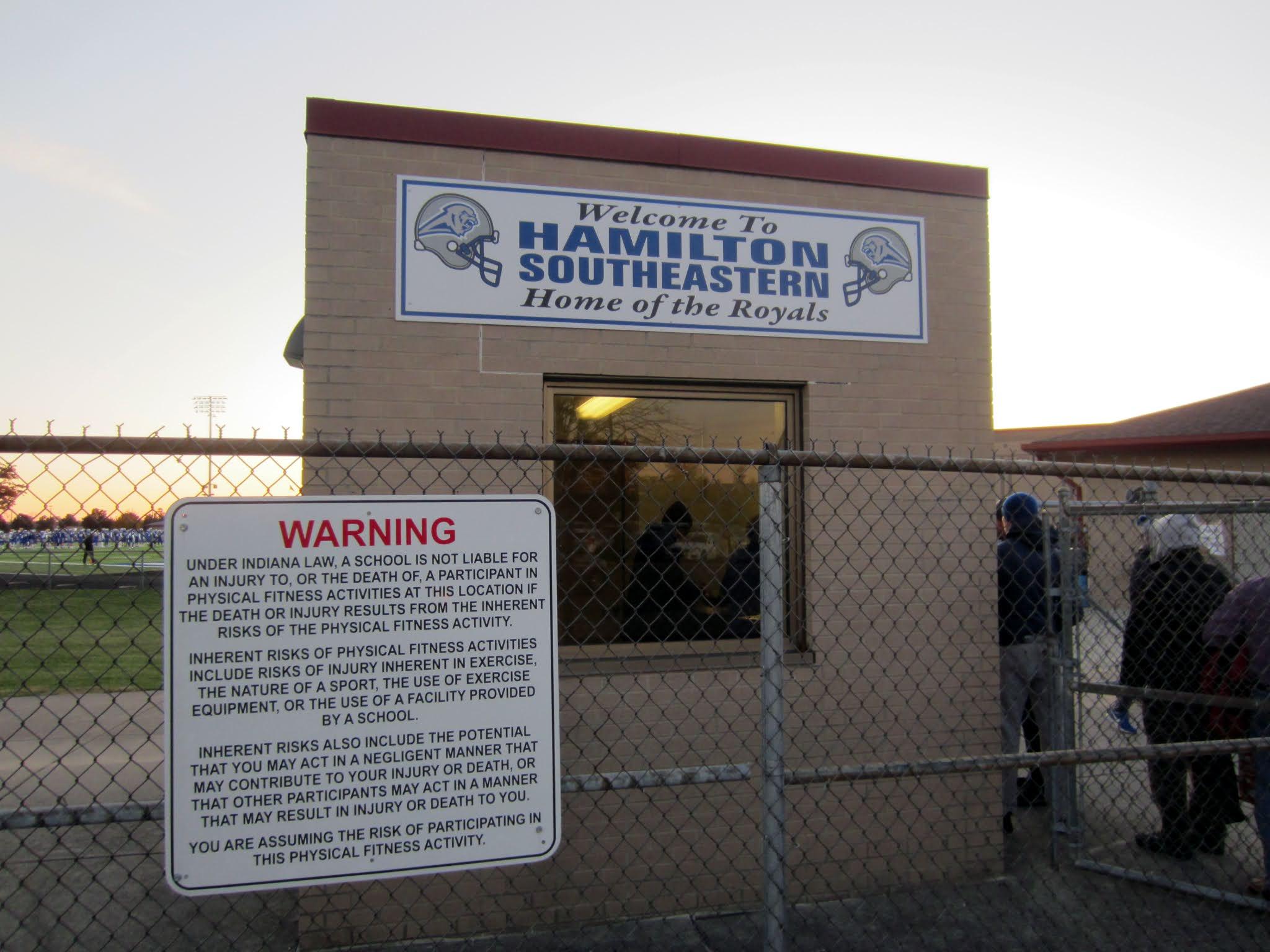 Entrance gate at Hamilton Southeastern High School's Royals Stadium