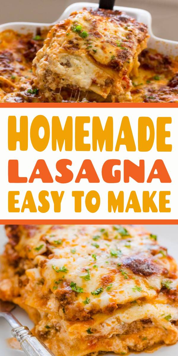 Our Best Homemade Lasagna Recipe that is supremely beefy, cheesy, saucy and so easy! Homemade lasagna is way better than any restaurant version. #lasagna #homemadelasagna #lasagnarecipe #pasta #casserole #dinner