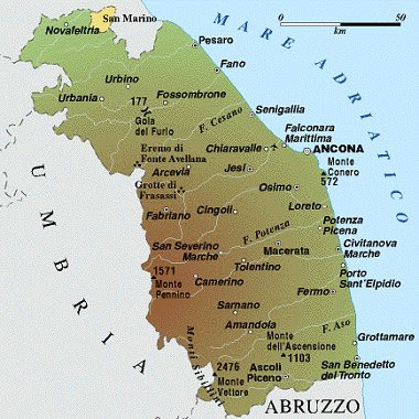 Marche Region Italy Map.Marche Map Political Regions Italy Map Geographic Region Province City