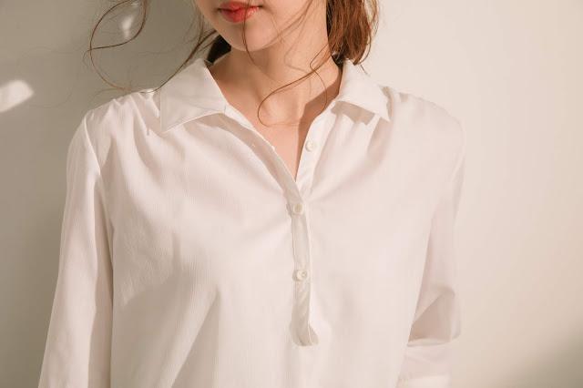 半夏U領白襯衫模特兒實穿