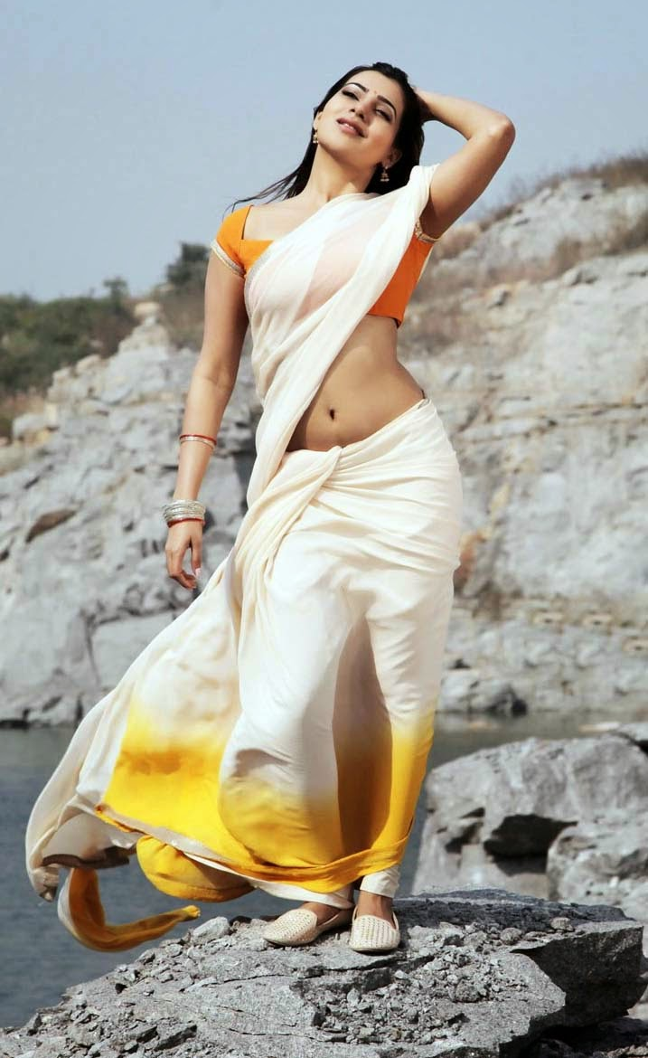 Samantha Hot Navel Show Wallpapers In White Saree