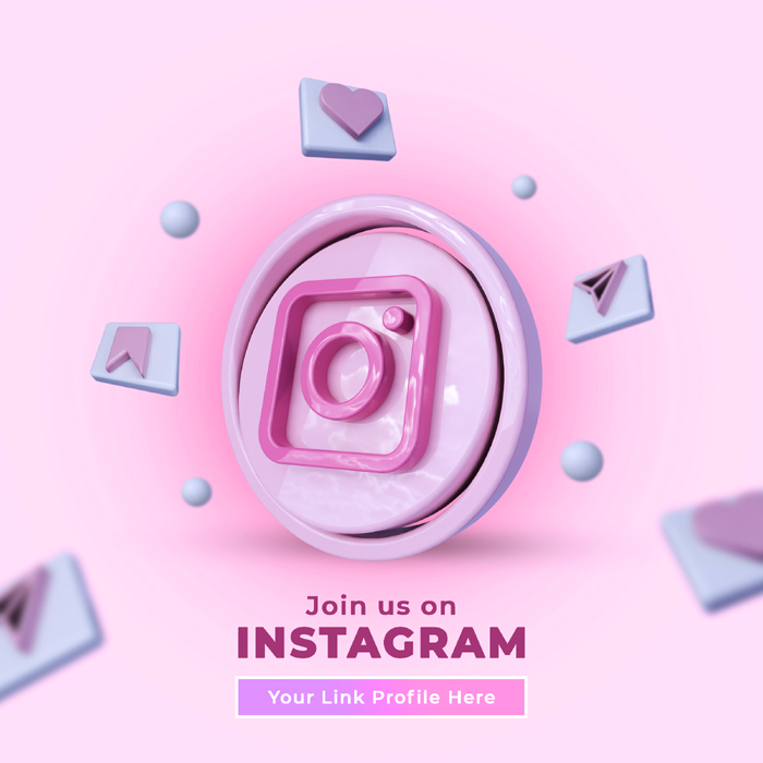 Follow Us Instagram Social Media Square Banner With 3D Logo