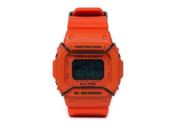 Jam DW5600 Warna Orange Model N. Hoolywood x G-Shock DW-D5600P-NH