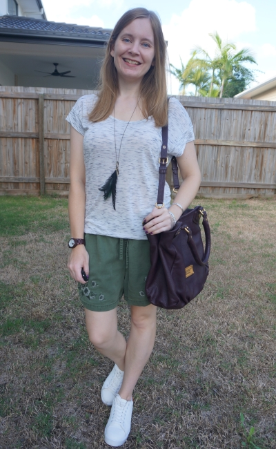 white space dye tee, olive embroidered shorts, chunky platforms sneakers summer mum style | awayfromblue