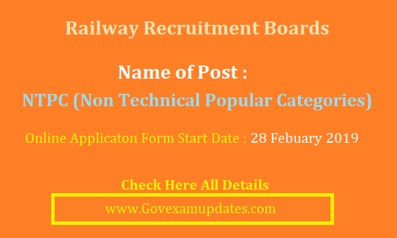 RRB NTPC (Non Technical Popular Categories) Recruitment 2019