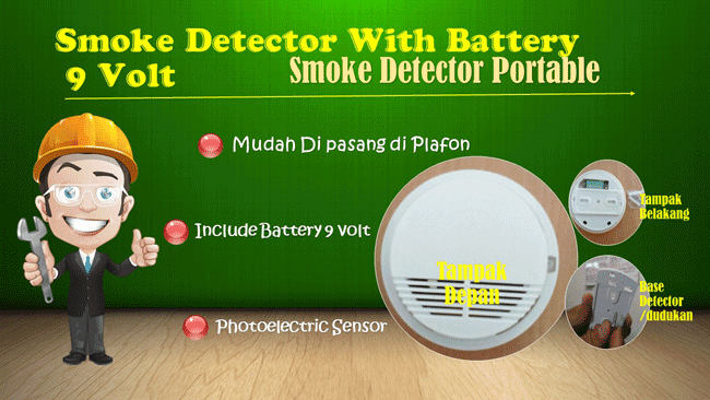 Smoke detector portable with battere