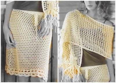 Conjunto falda y chal ganchillo patrón