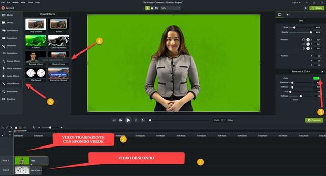 aggiungere video con sfondo verde a camtasia