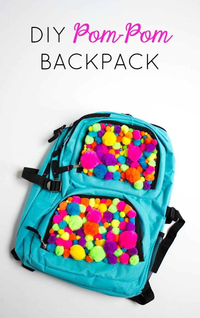 Turn any plain backpack into a pom-pom backpack!!
