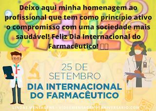 Dia Internacional do Farmacêutico, Parabéns.