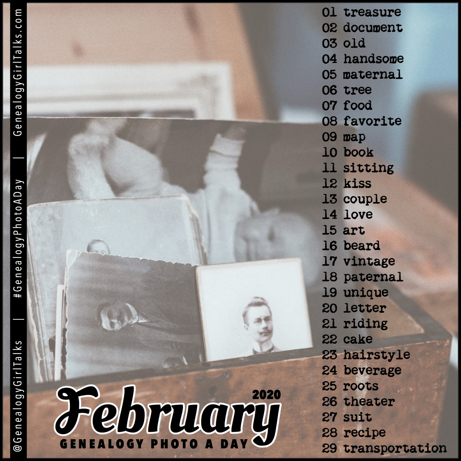 February 2020 Genealogy Photo A Day daily prompts from Genealogy Girl Talks #Genealogy #FamilyHistory #GenealogyPhotoADay