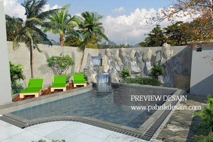 Jasa desain rumah dengan kolam renang taman cafe berbeque