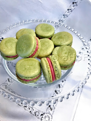 Matcha Macarons with Raspberry Filling