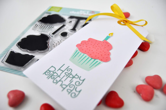Scrapbook & Cards Today stamped tag by Jen Gallacher for www.jengallacher.com. #stamping #stamper #stampedcard #birthdaycard #sctmagazine