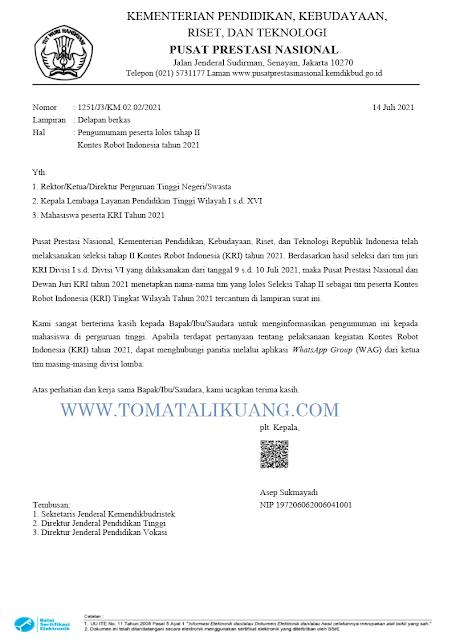 peserta lolos tahap 2 kri tahun 2021 tomatalikuang.com