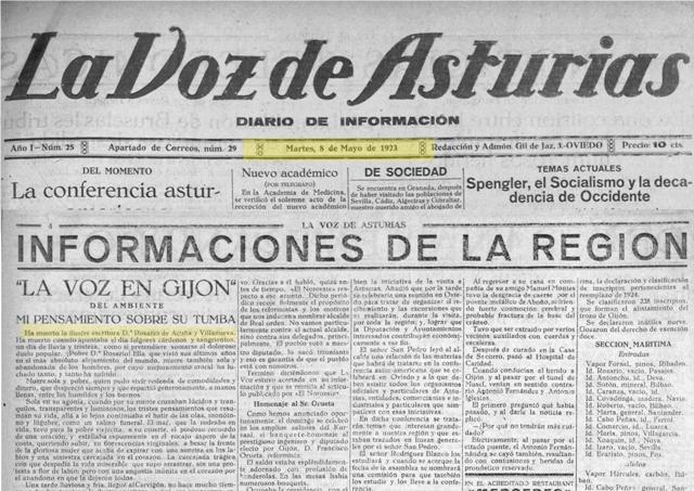 Cabecera de La Voz de Asturias del 8-5-1923 donde aparece un texto de Mario Rey: un emocionado homenaje a la fallecida recordando una visita reciente a su casa en El Cervigón