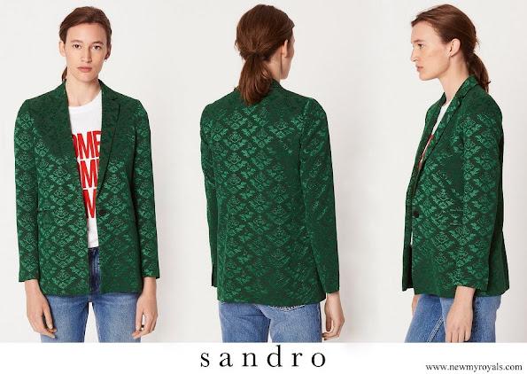 Duchess Maria Teresa wore SANDRO Emerald Jacquard blazer