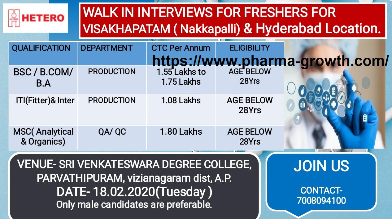 HETERO - Walk-Ins for Freshers - QA / QC / Production for Vizag & Hyderabad Location on 18th Feb' 2020