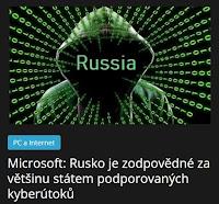 Microsoft: Rusko je zodpovědné za většinu státem podporovaných kyberútoků