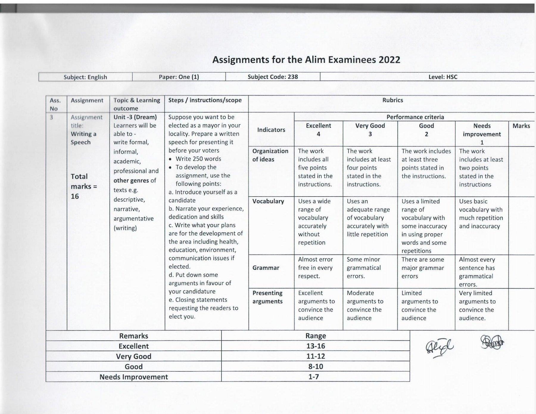 আলিম এসাইনমেন্ট ২০২২ উত্তর/সমাধান ইংরেজি (৭ম সপ্তাহ) PDF | Writing A Speech | আলিম ২০২২ ইংরেজি এসাইনমেন্ট উত্তর /উত্তর ইংরেজি