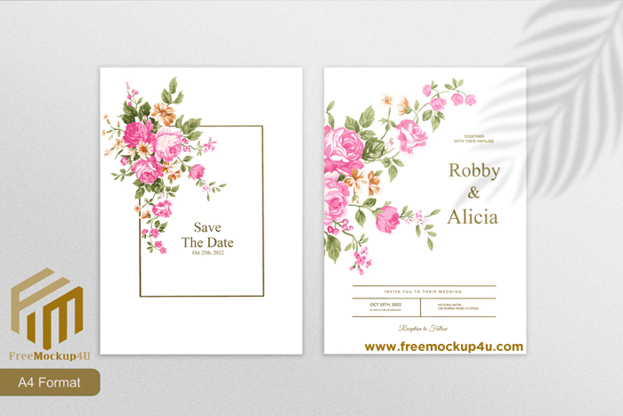 Minimalist Wedding Invitation Template With Pink Flower White Background
