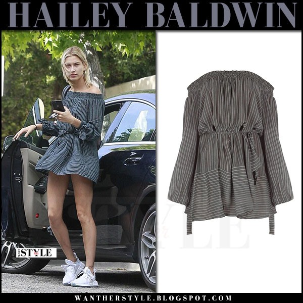Hailey Baldwin in grey striped mini dress faithfull the brand what she wore april 2017