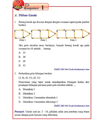 kunci jawaban matematika kelas 8 smp/mts semester 1 uji kompetensi 1