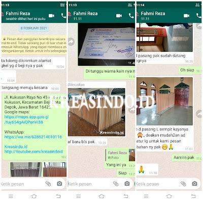 Hijab Masjid Stainless pesanan Bpk Fahmi untuk Musholla Al Muhajirin Ratu Jaya Depok