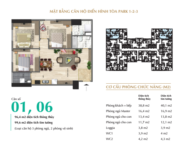 Thiết kế nội thất căn 3PN (96,4m2) tòa Park 1 - Eurowindow River Park