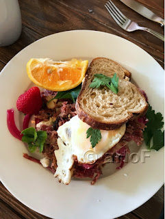Brisket Hash on Potato Bread with Egg at Tweets