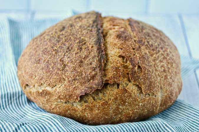Seventy five percent Whole Wheat Sourdough Bread loaf