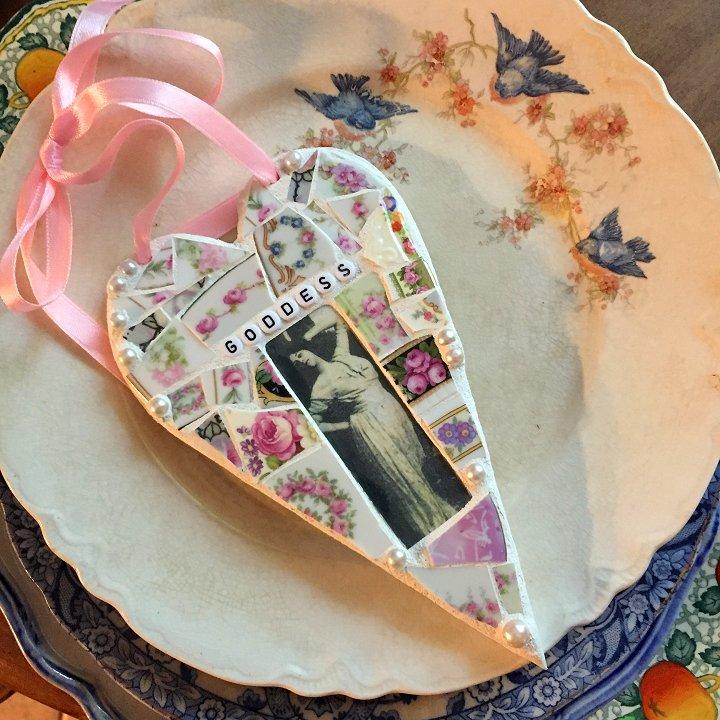 Broken china mosaic heart by Laura Beth Love, Emmaus, PA