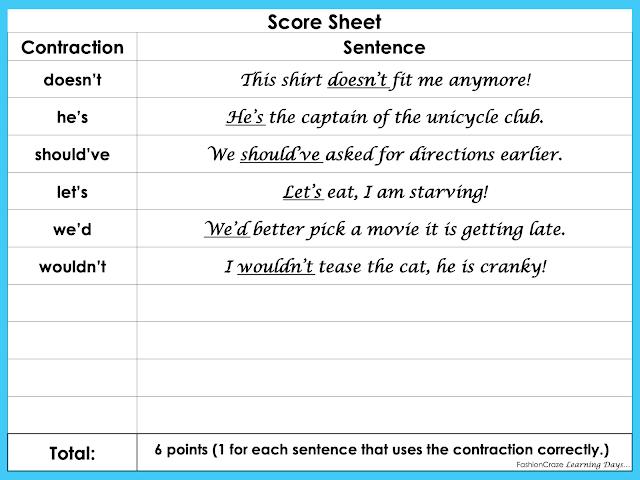contraction puzzle score sheet