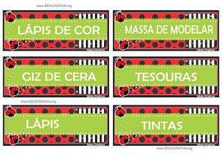 Etiquetas escolares tema Joaninha para organizar material escolar