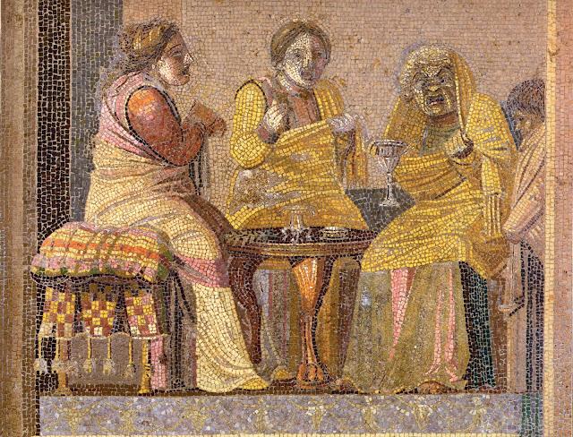 Mosaico de dos mujeres llamando a una bruja.