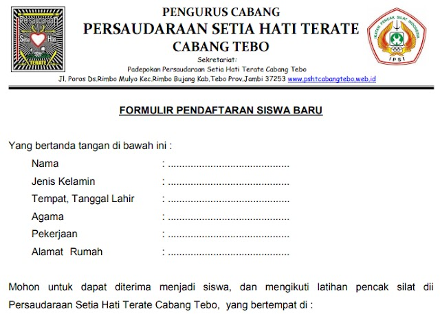 Formulir Pendaftaran Siswa Baru dan Surat Ijin Mengikuti Latihan Setia Hati Terate