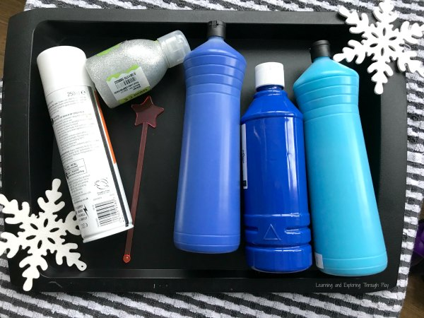 Winter Shaving Cream Marbling Sensory Painting